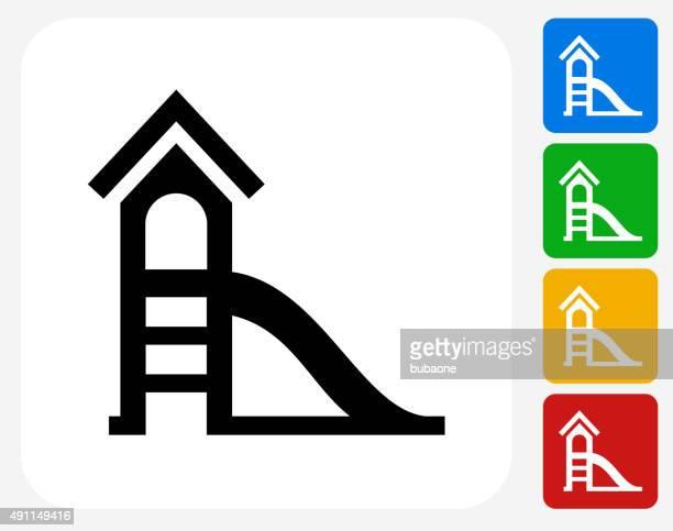 ilustraciones, imágenes clip art, dibujos animados e iconos de stock de slide iconos planos de diseño gráfico - parque infantil