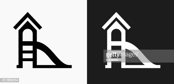 Slide Icon on Black and White Vector Backgrounds