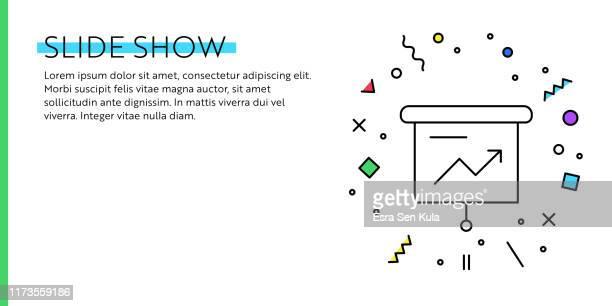 diashow-konzept. geometrische pop art und retro-stil web-banner und poster-konzept mit projektion bildschirm-symbol. - bildschirmpräsentation stock-grafiken, -clipart, -cartoons und -symbole