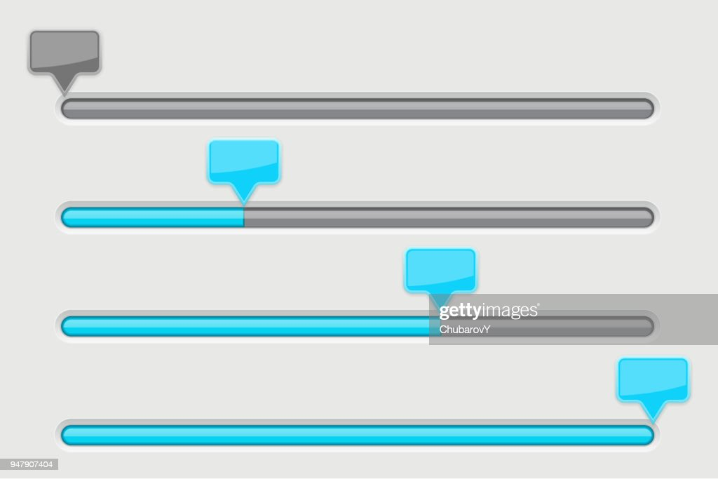Slider bar. Gray user interface with blue tags