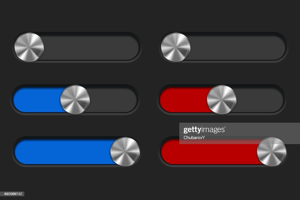 Slider toggle switch, blue and red bar. Interface button