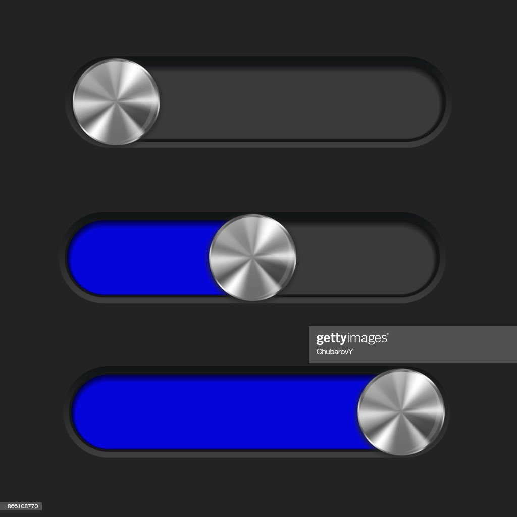 Slider toggle switch, blue bar. Interface button