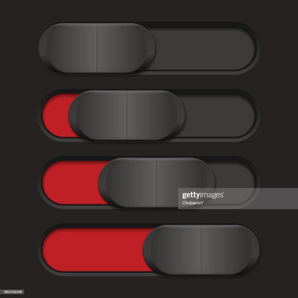 Slider with plastic button. Red bar on dark background