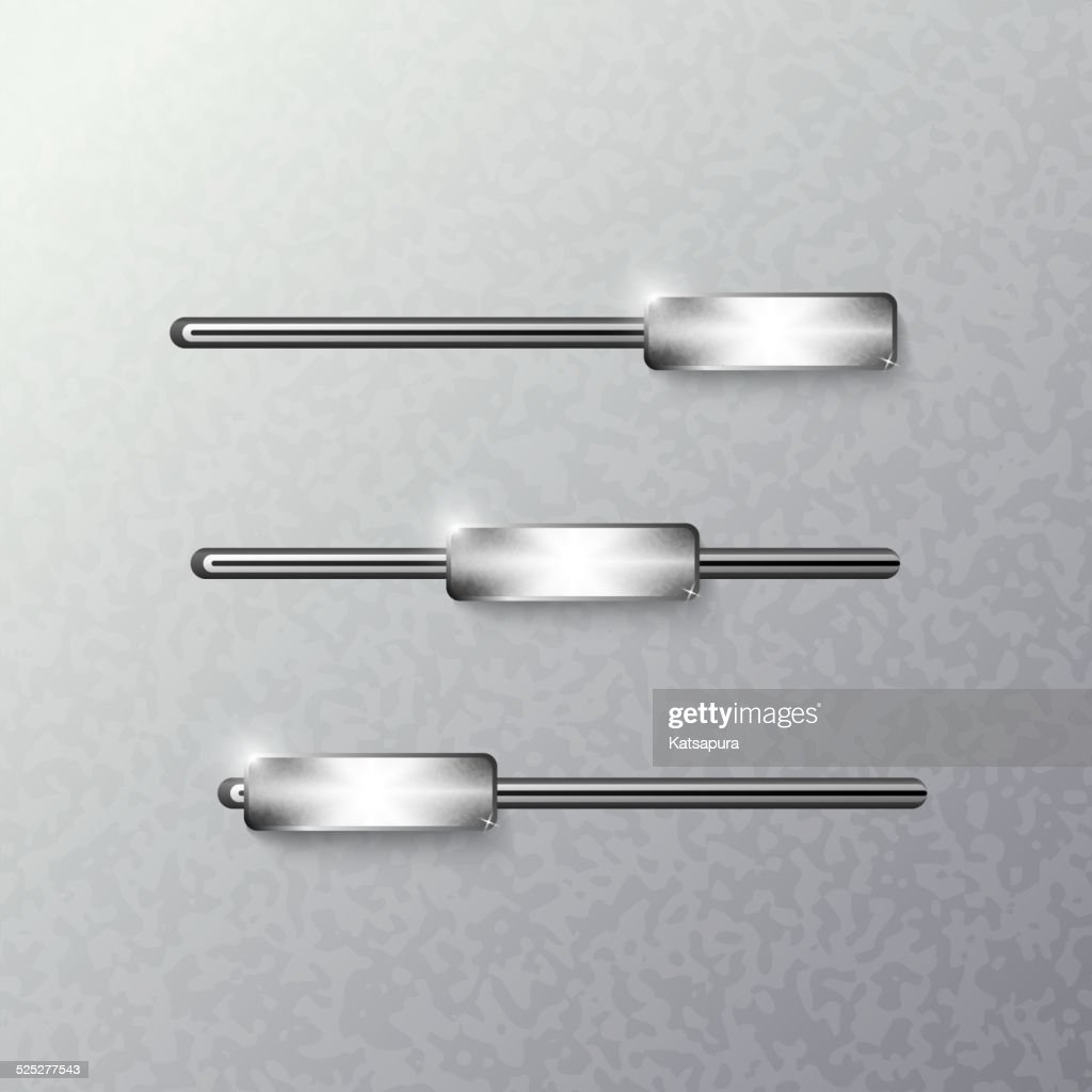 Sliders on a metal background