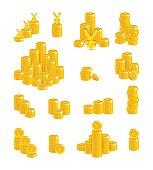 Slides gold Chinese yuan or Japanese yen isolated cartoon set