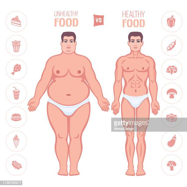 slim and fat man body. healthy and junk eating. - marrom stock illustrations