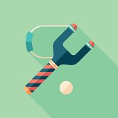 Slingshot flat square icon with long shadows.
