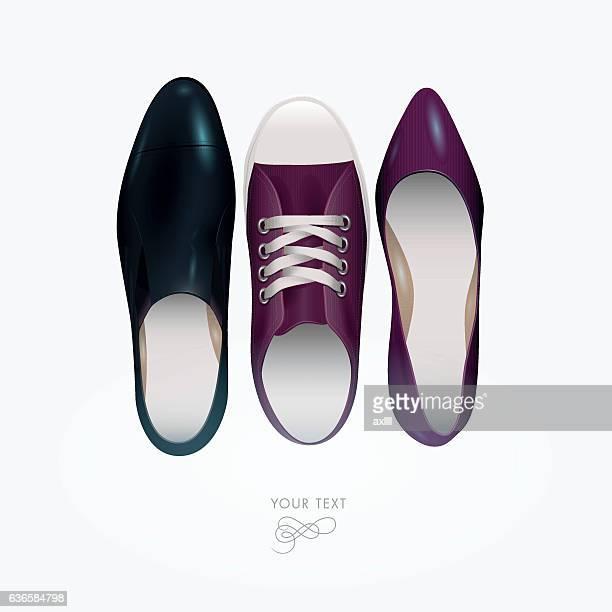slipper chucks pumps - pump dress shoe stock illustrations