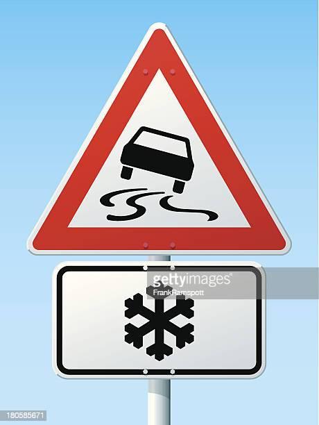 Slippery Road Gefahr-Warnschild deutsche