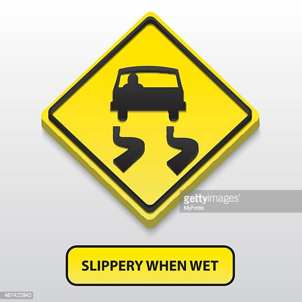 3d slippery when wet sign - safety american football player stock illustrations, clip art, cartoons, & icons
