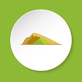 Sloping hill icon in flat style