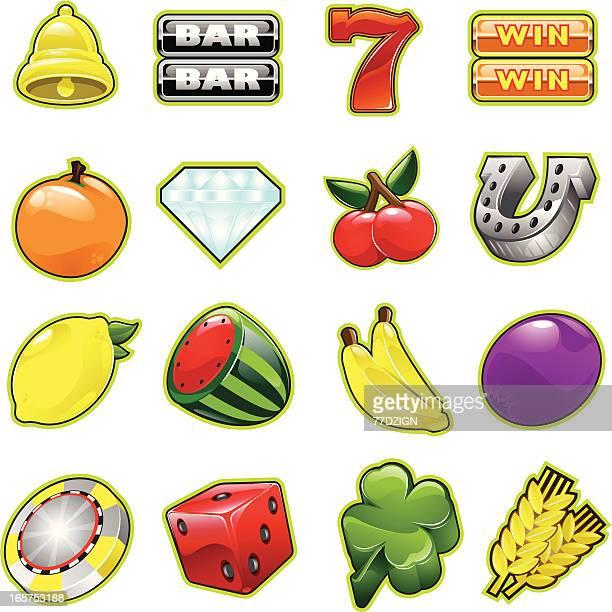 slot machine elements - slot machine stock illustrations, clip art, cartoons, & icons