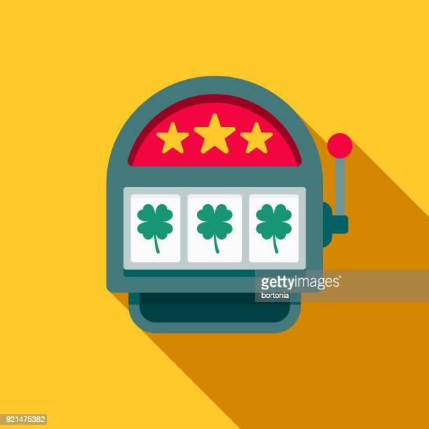 slot machine flat design casino icon with side shadow - slot machine stock illustrations, clip art, cartoons, & icons