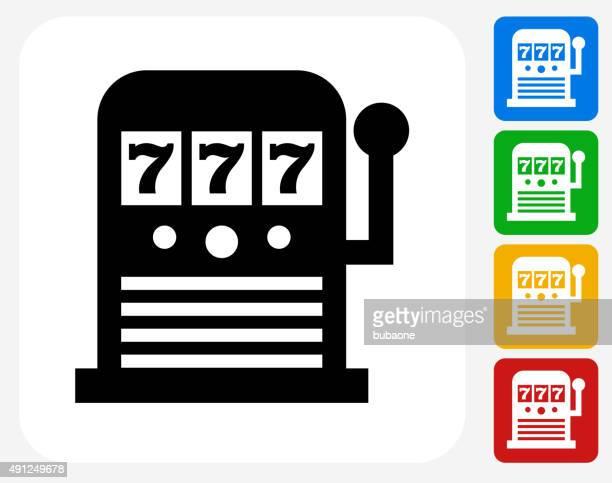 slot machine icon flat graphic design - slot machine stock illustrations, clip art, cartoons, & icons