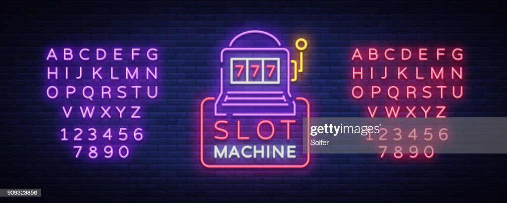 Slot machine icon,   in neon style. Neon sign, bright luminous banner, night billboard, bright nightly advertising of casinos, gaming machines and gambling. Vector illustration. Editing text neon sign
