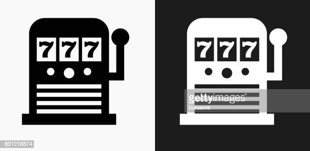 slot machine icon on black and white vector backgrounds - slot machine stock illustrations, clip art, cartoons, & icons