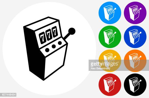 slot machine icon on flat color circle buttons - slot machine stock illustrations, clip art, cartoons, & icons