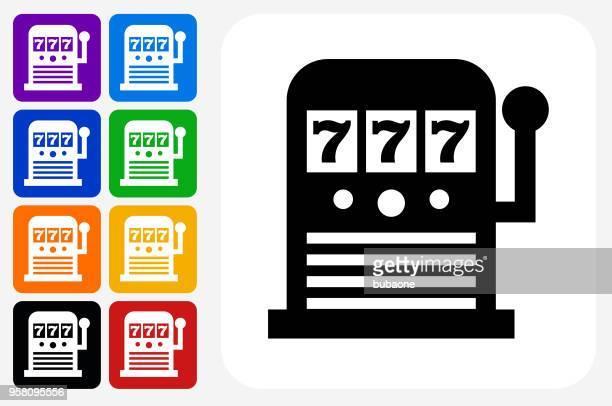 slot machine icon square button set - slot machine stock illustrations, clip art, cartoons, & icons