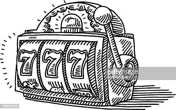 slot machine jackpot drawing - slot machine stock illustrations, clip art, cartoons, & icons