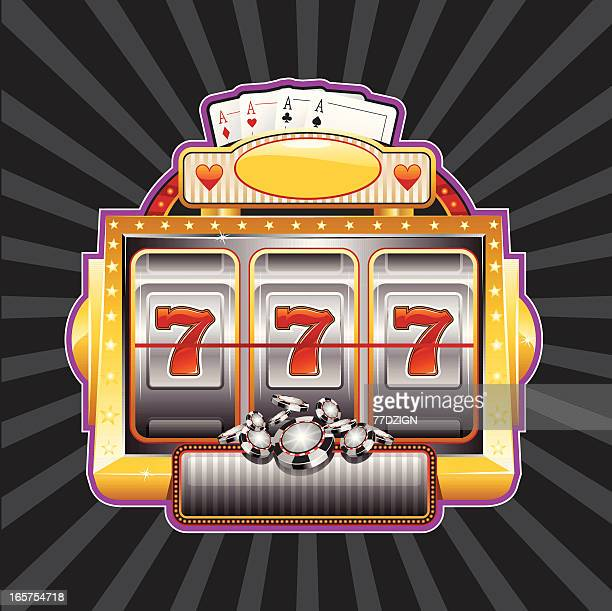 slot machine sign - slot machine stock illustrations, clip art, cartoons, & icons