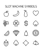 Slot machine symbols related vector icon set.