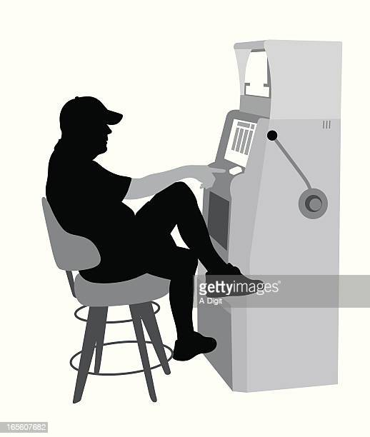 slot machine tunes vector silhouette - gambling addiction stock illustrations