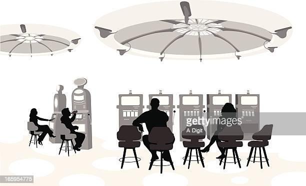 slot machine vector silhouette - slot machine stock illustrations, clip art, cartoons, & icons