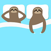 Sloth family love couple sleeping. Slow down. Cant sleep going to bed concept. Blanket pillow. Cute cartoon funny kawaii lazy character. Baby collection. Flat design. Blue background.