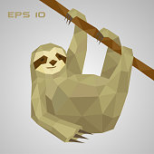 Sloth low poly. A lazy animal hangs on a branch and holds a paw.Low polygonal. Vector illustration.