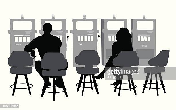 slots gamblers vector silhouette - slot machine stock illustrations, clip art, cartoons, & icons