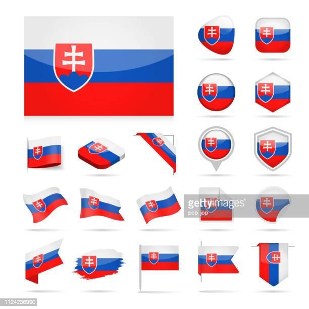 ilustrações de stock, clip art, desenhos animados e ícones de slovakia - flag icon glossy vector set - eslováquia