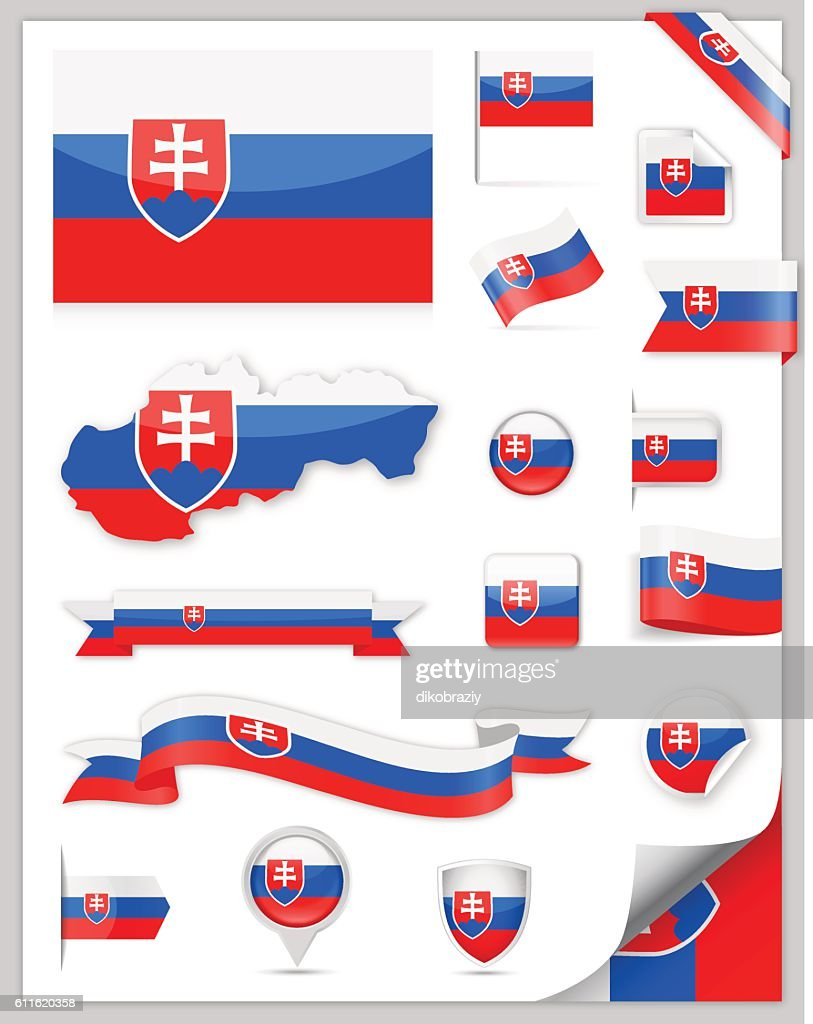 Slovakia Flag Set - Vector Collection