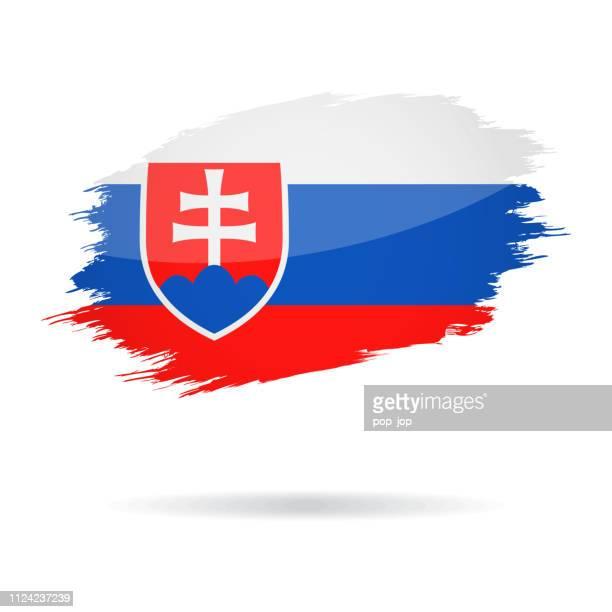 slovakia - grunge flag vector glossy icon - slovakia stock illustrations