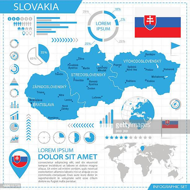 slowakei – infografik karte-illustration - slowakei stock-grafiken, -clipart, -cartoons und -symbole
