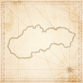 Slovakia map in retro vintage style - old textured paper