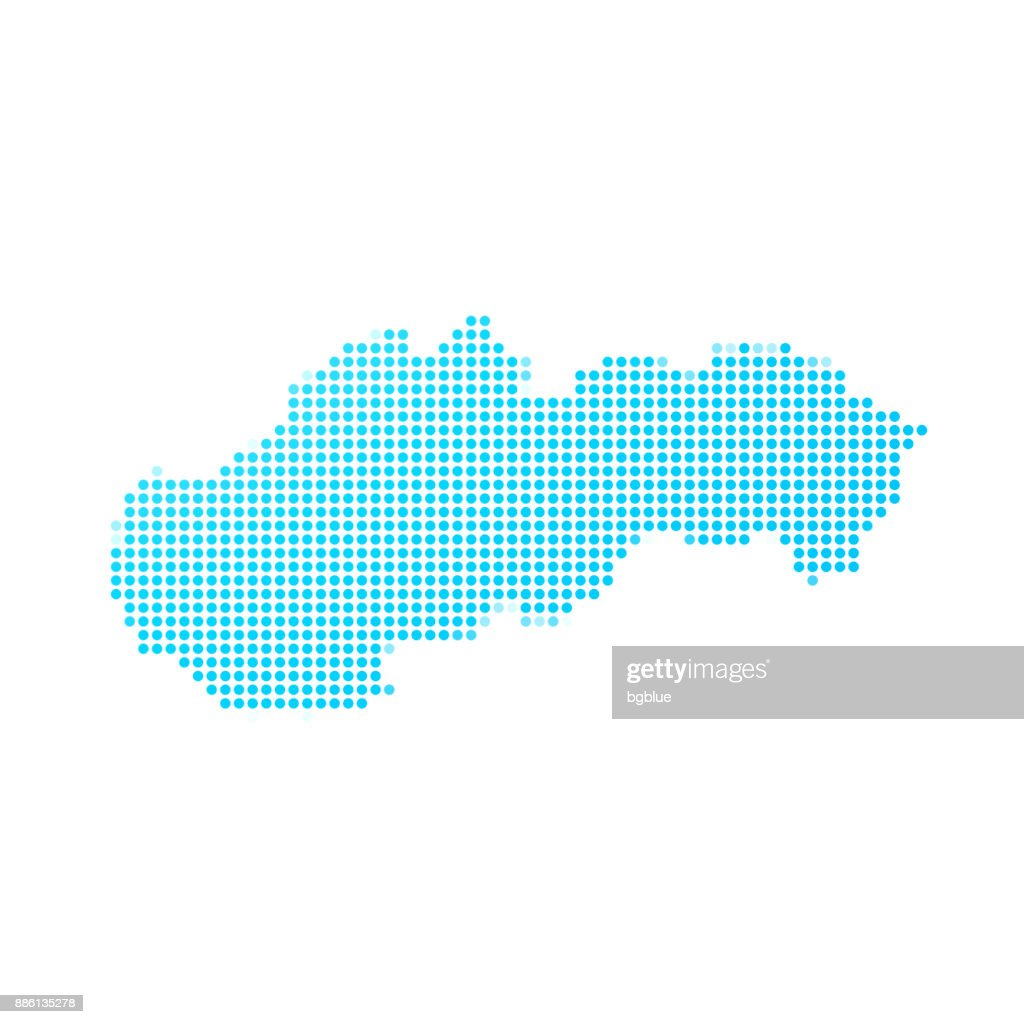 Slovakia map of blue dots on white background