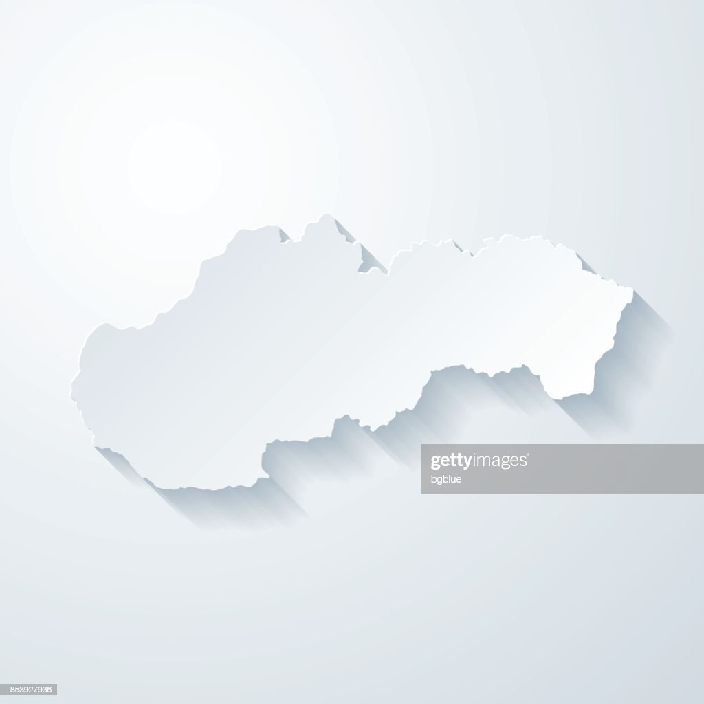 Slovakia map with paper cut effect on blank background