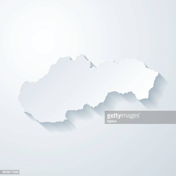 slovakia map with paper cut effect on blank background - slovakia stock illustrations