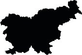 Slovenia black map on white background vector