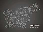 Slovenia black triangle vector perspective outline polygonal map