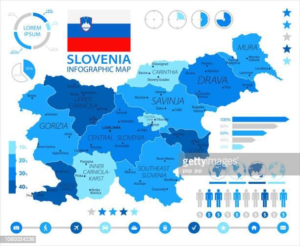 05 - slovenia - blue spot infographic 10 - kranj stock illustrations