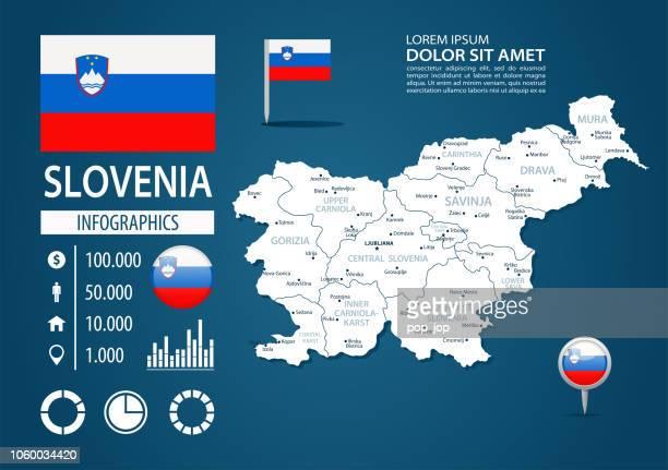 ilustraciones, imágenes clip art, dibujos animados e iconos de stock de 39 - eslovenia - oscuro murena bg infographic q10 - kranj