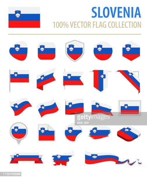 スロベニア - フラグ アイコン フラット ベクトルを設定 - スロベニア国旗点のイラスト素材/クリップアート素材/マンガ素材/アイコン素材