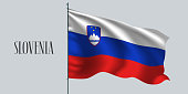 Slovenia flag on flagpole vector illustration
