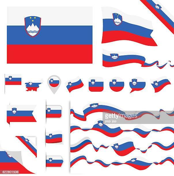 スロベニアの旗セット - スロベニア国旗点のイラスト素材/クリップアート素材/マンガ素材/アイコン素材