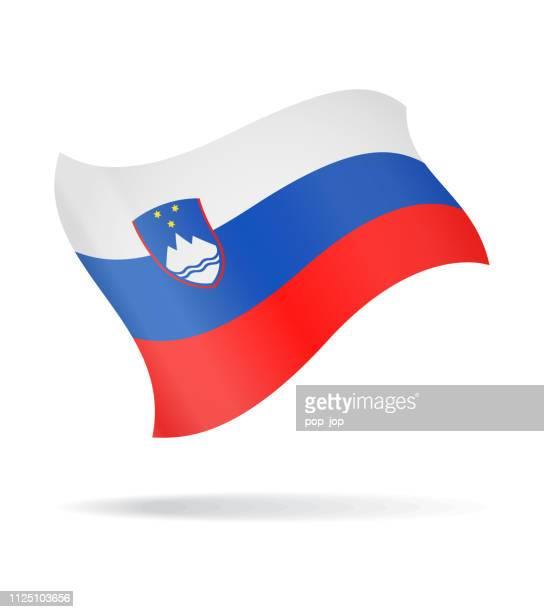 スロベニア - ベクトルの旗の光沢のあるアイコンを飛んで - スロベニア国旗点のイラスト素材/クリップアート素材/マンガ素材/アイコン素材