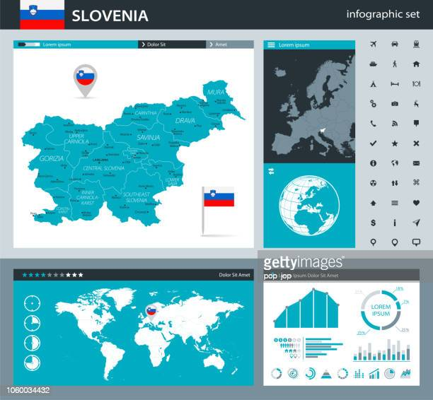 35 - slovenia - gray murena infographic q10 - kranj stock illustrations
