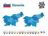Slovenia - High Detailed Map With GPS Icon Collection