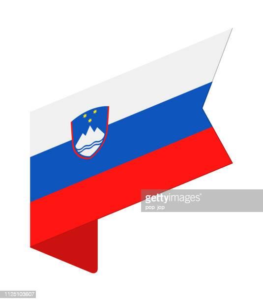 スロベニア - 等尺性ラベル フラグ ベクトル フラット アイコン - スロベニア国旗点のイラスト素材/クリップアート素材/マンガ素材/アイコン素材