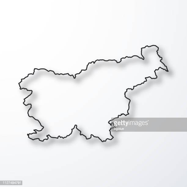 slovenia map - black outline with shadow on white background - slovenia stock illustrations